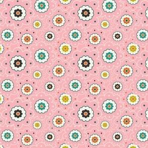 Flower Garden - Retro Girl Pink Outline Small Scale