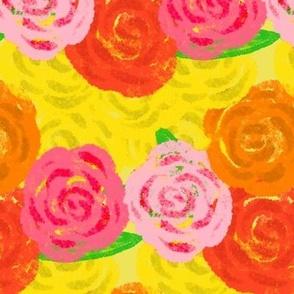 Watercolor Red Yellow Orange Pink Roses