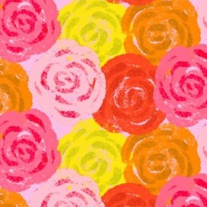 Watercolor Red Yellow Orange Pink Coral Roses