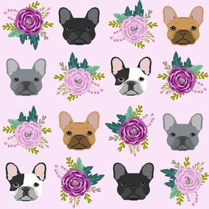 JUMBO french bulldog fabric purple lavender pastel purple frenchie dogs and florals fabric