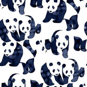 Bear-ly Camouflaged Panda Bears -  dark navy blue