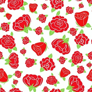 Red Roses Off White Background