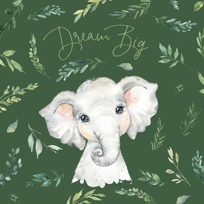 18x18 cushion cover green elephant