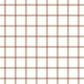 Gingham check window magenta_ rich beige and white
