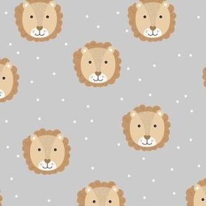 Sweet baby lion cub adorable kawaii kids wild animals neutral caramel honey on gray