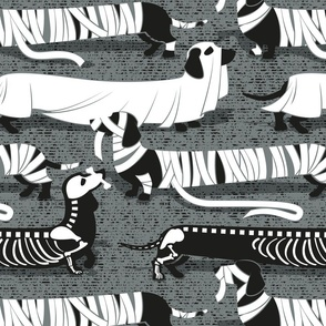 Large scale // Spooktacular long dachshunds // green grey background mummy ghost and skeleton dogs
