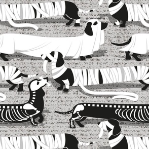 Large scale // Spooktacular long dachshunds // light grey background mummy ghost and skeleton dogs