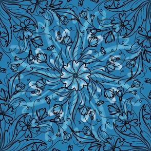floral mandala tile on blue background