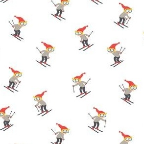 (small scale) downhill skiers - skiing - grey and red  - LAD21