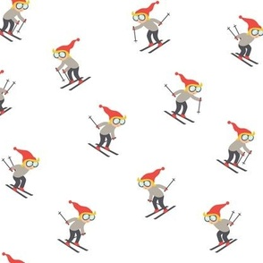 downhill skiers - skiing - grey and red  - LAD21