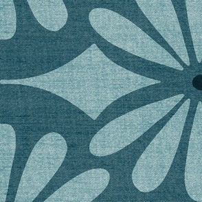 Solstice - Boho Geometric Dark Teal Woven Texture Jumbo Scale