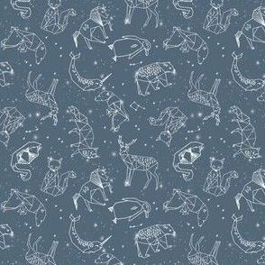SMALL Constellations // animal geometric constellation fabric payne's grey