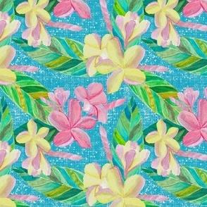 Plumeria Tropical Pattern on Blue