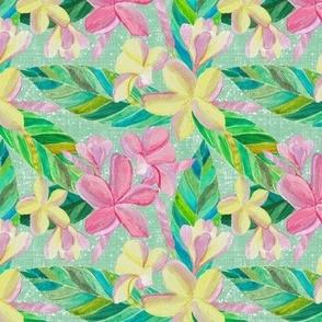 Plumeria Tropical Pattern on Green