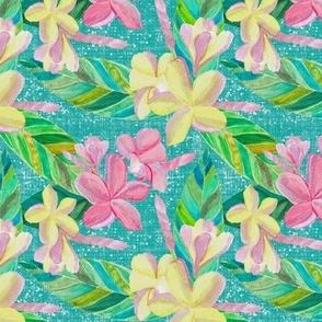 Plumeria Tropical Pattern on Teal