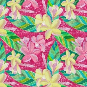 Plumeria Tropical Pattern on Raspberry