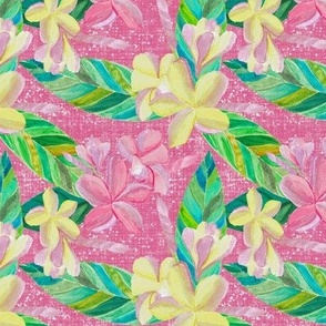 Plumeria Tropical Pattern on Pink