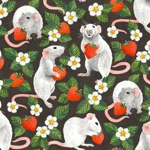 Rats Love Strawberries - dark brown, large