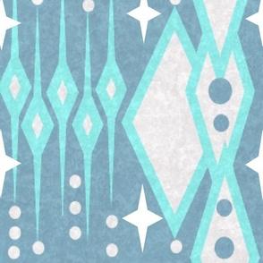 Mid Century Funky Boho Icicles - Abstract  Mid Century - On Denim Blue