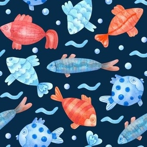 Watercolor Fish Pattern Blue Background