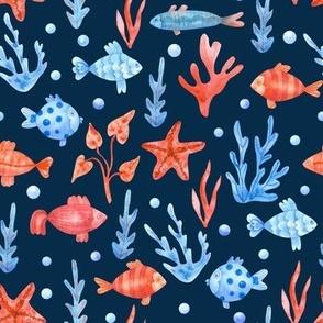 Fish Seaweeds Pattern Blue