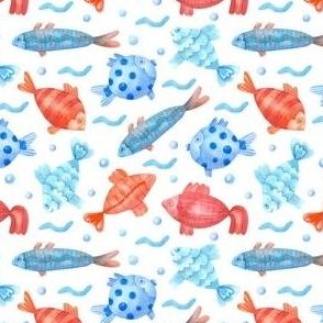 Watercolor Fish Patternwhite Background