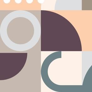 Mid Century Geometric Cats Wallpaper (Neutral)