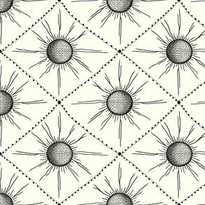 neutral geometric wallpaper, medium large scale, ivory cream soft white ecru eggshell off-white black