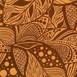 Copper Autumn Leaves Stylized and Patterned on Rust Brown