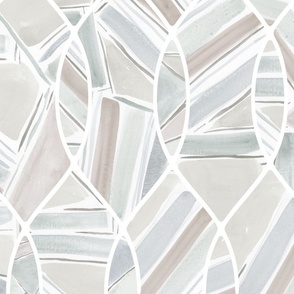 casual geo on geometric ogee neutral painted watercolor