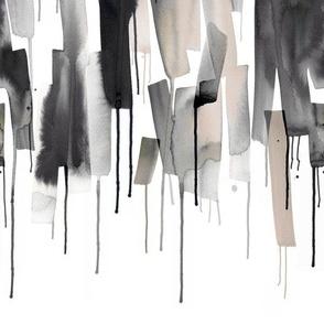Watery stripes Neutral Gray Black Medium Border print