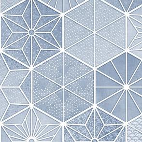 Sashiko Blue Gray- Japanese Geometric