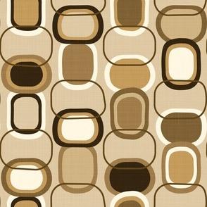 Textured Mid Century Modern Rounded Rectangles // MCM // Espresso Brown, Dark Brown, Chocolate Brown, Caramel, Khaki, Beige, Ivory