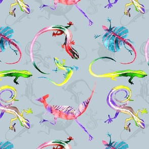 Colorful Lizards and Dinos Large Motif