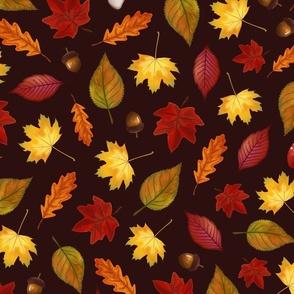 Fall Botanical Leaves Brown