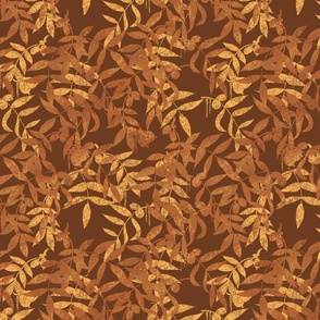 Hickory Leaves - Brown & Gold