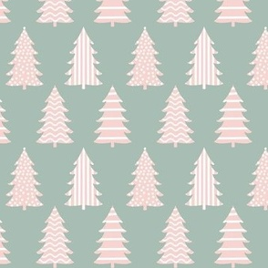 Bold Graphics Holiday Trees, Pink on Sage