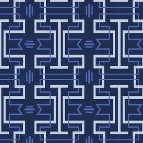 Chinoiserie Tessellation Navy Background