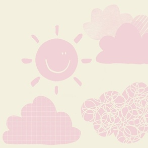 Sunny woodland weather cotton candy clouds