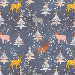 Watercolor Christmas forest with deers Navy Small scale