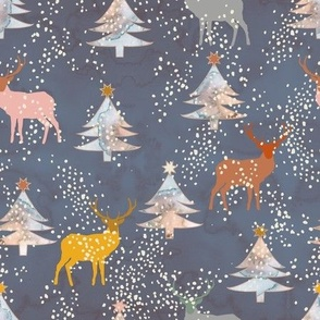 Watercolor Christmas forest with deers Navy Medium scale