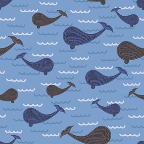 100 Pattern Project - Whale Watch Trip: jumbo scale for wallpaper, home decor and soft furnishings