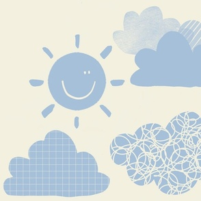 Sunny woodland weather sky blue clouds