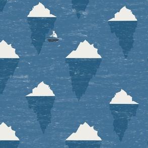 Boating polar bears and icebergs on a choppy ocean
