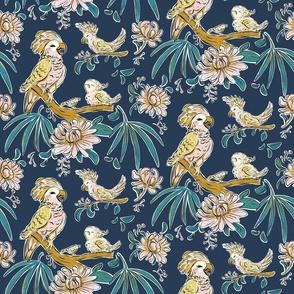 cockatoo  & birds on a indigo blue  jungle _ small scale