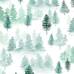 watercolor forest trees -Woodland, Winter, Christmas green