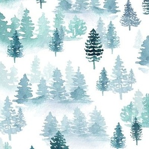 watercolor forest trees -Woodland, Winter, Christmas bluish green