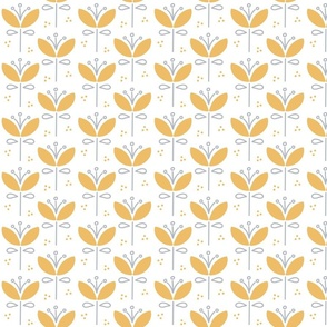 Large Nordic Petal Floral in Ochre Yellow