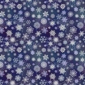 Snowflakes 1 on dark blue - 3in pattern