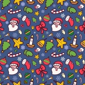 Christmas characters 1 on blue - 3in pattern